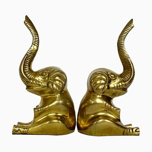 Hollywood Regency Brass Elephants, 1970s, Set of 2