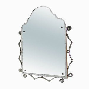 Vintage Faceted Aluminum Mirror, 1950s