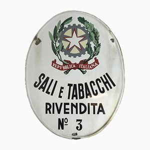 Italian Oval Enamel Advertising Sali e Tabacchi Tobacco Sign, 1950s