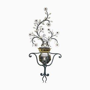 Große italienische Mid-Century Wandlampe mit Kristallvögeln, Blumen und Blättern von Banci Firenze