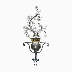 Large Mid-Century Italian Sconce with Crystal Birds, Flowers, and Leaves from Banci Firenze