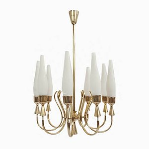 Italian Brass and Opaline Glass 9-Arm Chandelier by Angelo Lelii for Arredoluce, 1950s