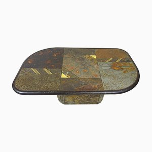 Brutalist Stone, Slate, and Brass Coffee Table Attributed to Paul Kingma
