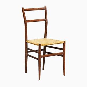 Chaise de Salon Modèle Leggera en Frêne et Paille par Gio Ponti pour Cassina, Italie, 1957