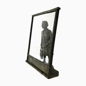 Statue Vintage en Zinc d une Dame Flamande Shopping au lèche-vitrine UNIC