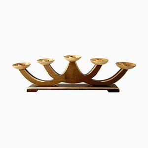 Mid-Century Two-Tone Wooden 5-Arm Candleholder