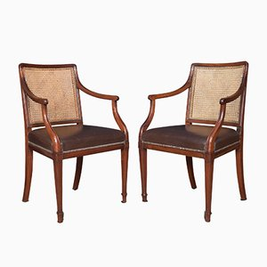 Antique Mahogany Heppelwhite Style Armchairs, Set of 2
