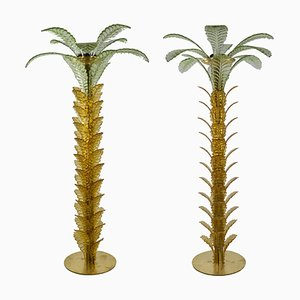 Vintage Brass and Glass Palm Floor Lamps, Set of 2