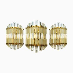 Mid-Century Brass and Murano Glass Sconces from Venini, Set of 3