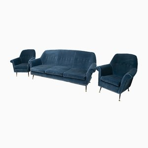 Mid-Century Italian Sofa and Chairs Set by Gigi Radice for Minotti, 1950s, Set of 3