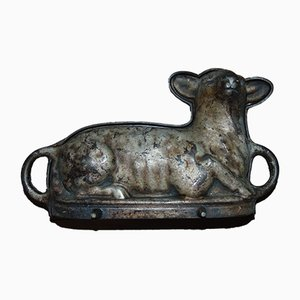 Antique Cast Iron Lamb Bread Form, Set of 2