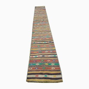 Long Tapis Kilim Runner Vintage Vert et Jaune, Turquie, 1970s