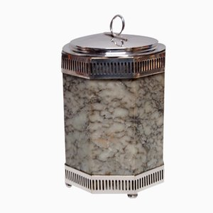 Art Deco Alabaster and Silver Metal Ice Bucket, 1930s