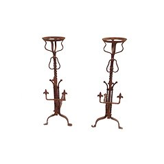Tall Wrought Iron Andirons, 1900, Set of 2