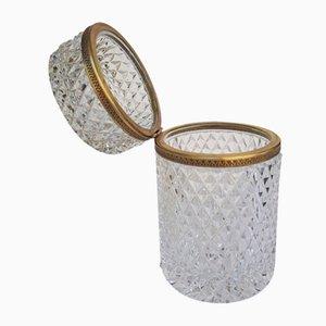 Kristall Deckeldose mit Wabenstruktur mit Messingfassung, 1920er