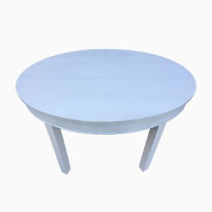 Art Deco White Oval Dining Table, 1940s