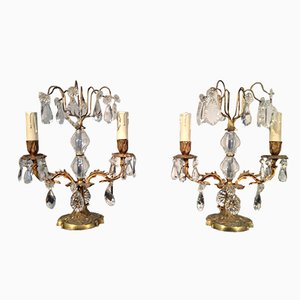 Bougeoirs en Cristal et Bronze, France, 1920, Set de 2