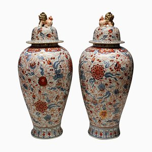 Large Antique Japanese Ceramic Imari Floor Vases, Set of 2