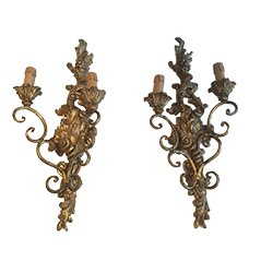 Vintage Italian Gilded Wood Sconces, 1920, Set of 2