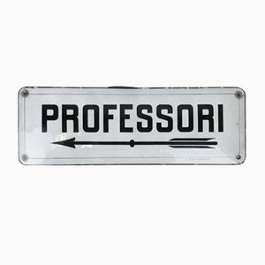 Italian Enameled Metal Sign Professori The Teachers Room Sign, 1930s