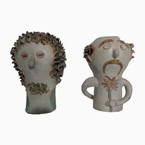 Dänische Studio Women & Man Vasen aus Keramik, 1960er, 2er Set