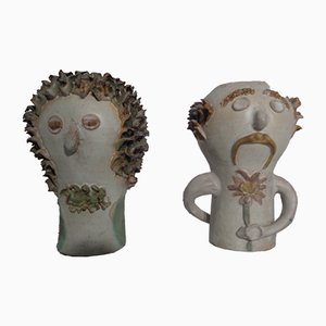 Danish Studio Ceramic Woman & Man Vases, 1960s, Set of 2