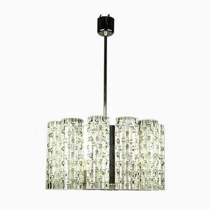 Vintage Deckenlampe aus Glas & Chrom von Doria Leuchten, 1960er