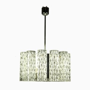 Vintage Glass and Chrome Ceiling Lamp from Doria Leuchten, 1960s