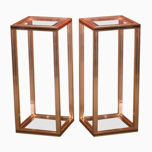 Large Vintage Faceted Cut Glass High Side Tables from Pierre Vandel, Set of 2
