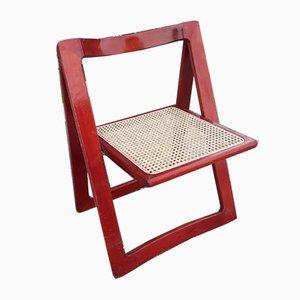 Model Trieste Folding Chair in Red Lacquered Wood & Vienna Straw Seat by Aldo Jacober & Pierangela d'Aniello for Bazzini Alberto, 1966