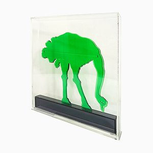 Op-Art Style Green Plexiglass Ostrich Sculpture by Gino Marotta