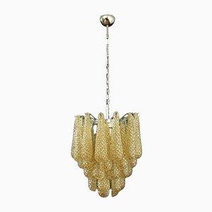 Italienische Vintage Murano Glas Deckenlampe mit 41 bernsteinfarbenen Glasblättern, 1981