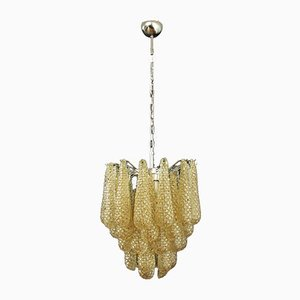 Vintage Italian Murano Glass Ceiling Lamp with 41 Amber Glass Petals, 1981