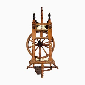Antique Majestic Spinning Wheel in Ebony Wood