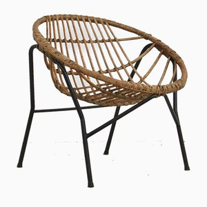 Mid-Century Rattan Lounge Chair by Rohé Noordwolde, 1960s
