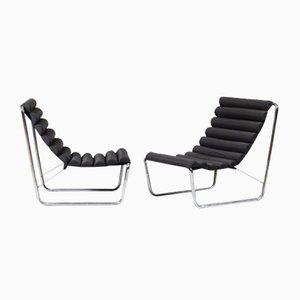 Boudins Sessel aus Metall & schwarzen Stoff, 1970er, 2er Set