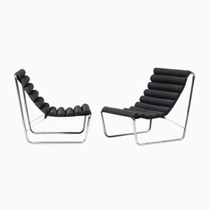 Metal and Black Fabric Boudins Heater Lounge Chairs, 1970s, Set of 2