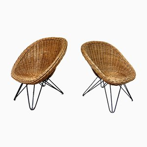 Cane Children's Chairs with Hairpin Legs, 1950s, Set of 2