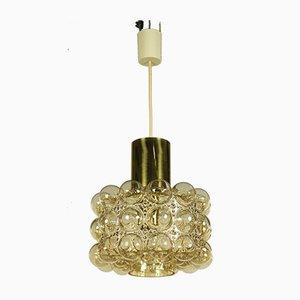 Lampe à Suspension Vintage en Verre à Bulles Ambré par Helena Tynell pour Limburg, 1960s