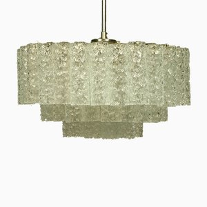 Vintage Glass Tube Pyramid Shaped Pendant Lamp from Doria Leuchten, 1960s