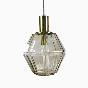 Mid-Century Glass and Brass Pendant Lamp from Limburg, 1960s