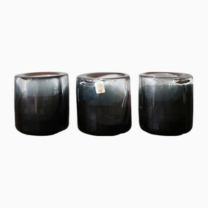 Smoked Glass Cups by Per Lütken for Holmegaard, 1950s, Set of 3