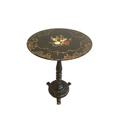 Table d'Appoint Napoleon III Dorée & Peinte avec Motifs Floraux