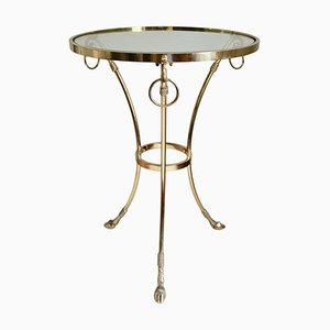 Vintage Brass Ram and Hoof Side Table in the Style of Maison Jansen