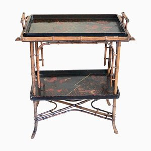 Vintage Chinoiserie Lacquered Bamboo Tray Table