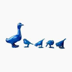 Mid-Century Duck & Sparrows in Blue Ceramic by Georges Cassin, Set of 5