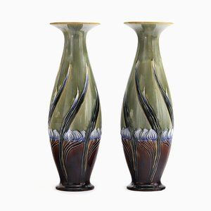Vases Sécession Antique à Effet Miroir par Eliza Simmance pour Royal Doulton, 1900s, Set de 2