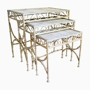 Vintage Faux Bamboo Nesting Tables