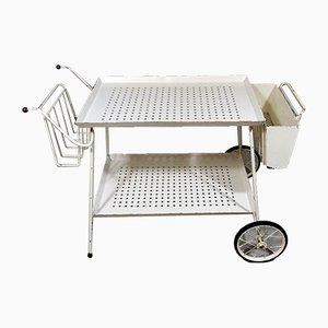 White Steel Serving Cart & Bed Table in One, 1950s