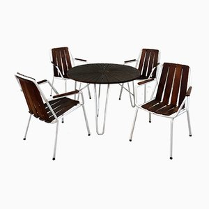 Gartenstühle & Tisch von Daneline, Dänemark, 1960er, 5er Set